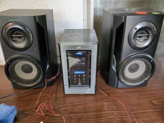 Jvc Radio And CD Player with 2 Sony Speakers  Powers on  Tested and Working