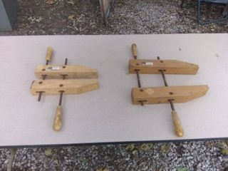 lot Of 2 Vintage Wooden Craftsman Clamps