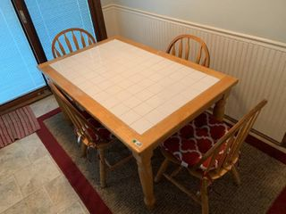 White Tile Wood Kitchen Table W  4 Chairs