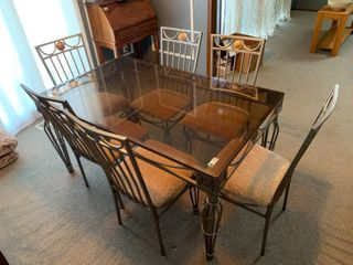 Nice Glass Top Kitchen Table W  6 Chairs