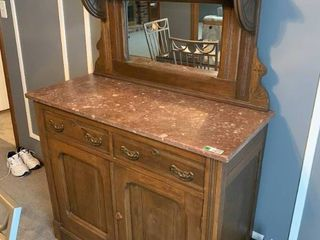 Antique Walnut Buffet W  Marble Top