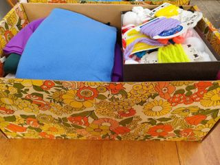 lot of Box of Multi Color Felt Fabric and Yarn