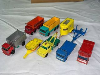 lot of 9 Vintage lesney Matchbox Trucks Trailers location Shelf 1