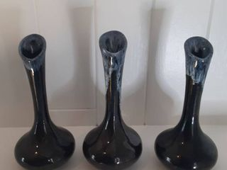 lot Of 3 Small Stoneware Style Vases