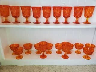 lot of 21 Amber Orange Glasses