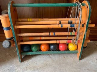Vintage Wooden Croquet Set location Beside Dryer