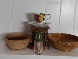 lot of Sugar Bowl  Toothpick Dispenser and Wooden Bowls and Decorated Teacup and Saucer