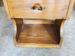 Wooden Side Table with Brass Tristed Handle for Drawer   Also lower Shelf