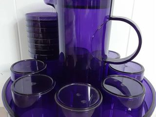 lot of 1 Pitcher with lid  8 Cups with lids and a Tray