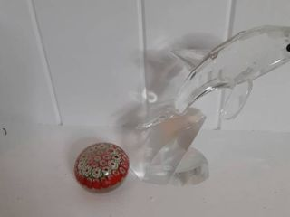 lot of 1 Crystal Dolphin and one Paperweight