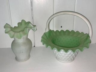Fenton Satin Green White Hobnail Ruffled Basket and Vase Fireplace left Shelf