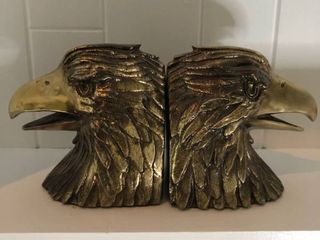 Gold Eagle Head Book Stops location Fireplace Shelf Right