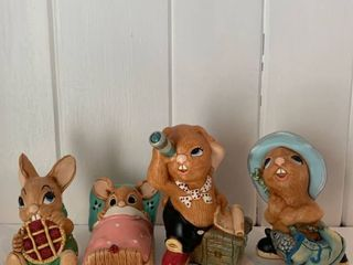 lot of 4 Pendelfin Rabbits Fireplace left Shelf