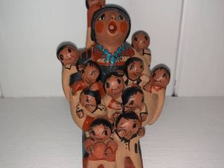 Signed Clay Native American Figure Fireplace left Shelf
