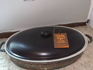 Wallace Silverplate Covered Casserole Dish With Base Fireplace left Shelf