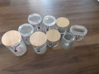 lot of 8 Plastic Canisters and 1 Glass jar
