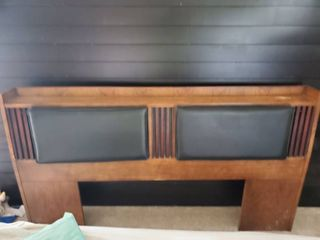 lANE Headboard With leather Head Rest and Inside Cubbies