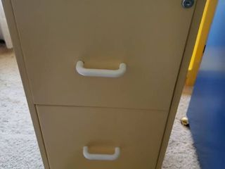 2 Drawer Yellow Filing Cabinet with Keys