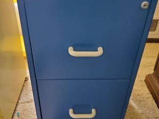 2 Drawer Blue Filing Cabinet with Keys