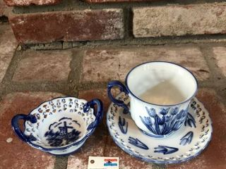 Gzhel Tea Cup and Dish Set location Fireplace Right Shelf