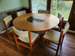 SunCabinet Co  Dinner Table with 6 Chairs and Granite Center Carousel