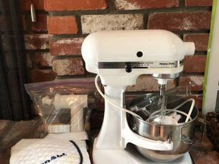 Kitchen Aid Mix with Attachments and Cover location Fireplace