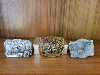Kansas 1984   Oregon 1981 and Brass Colorado Belt Buckles