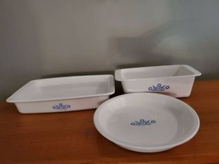 lot 9f 3 Blue Blossom Corning Ware Dishes