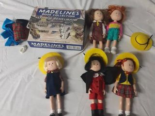 lot Of Madeline Dolls and Book Set