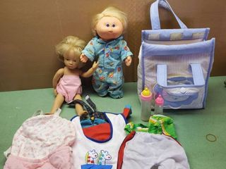 lot of 2 Vintage Dolls and Baby and Diaper Bag Full of Clothes and Accessories
