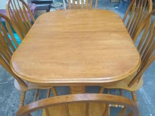 Nice Wooden Dining Table With 6 Chairs Decent Shape  Table 61x43x31  Chairs 42x20