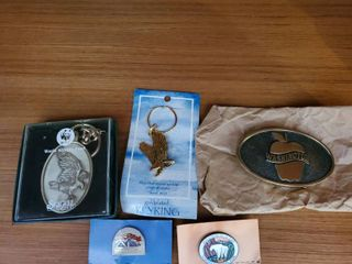 lot of Eagle Keychains and Brass Washington Belt Buckle