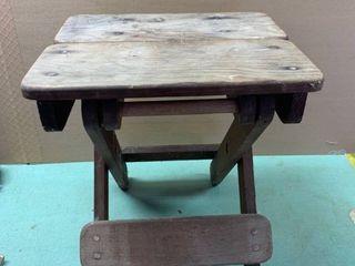 Antique Folding Wood Stool Location Beside Dryer
