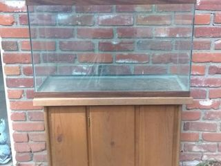 Nice Fish Tank With Wooden Base 30x14x45