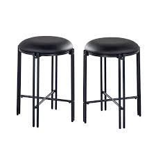 Carbon loft Marco Backless Round Counter Stool   Set of 2  Retail 113 99 black