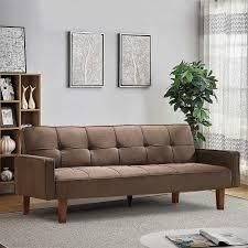 Mieres Brown High quality and Durable Convertible linen Sofa Bed  Retail 346 49 brown