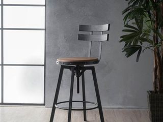 Jutte Adjustable Backed Iron Barstool by Christopher Knight Home  Retail 109 15