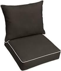 Sunbrella Canvas Black with Ivory Indoor Outdoor Deep Seating Cushion  Corded  Retail 87 49