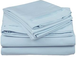 100  Egyptian Cotton 650 Thread Count  California King 4 Piece Sheet Set  Deep Pocket  Single Ply  Solid  Baby Blue