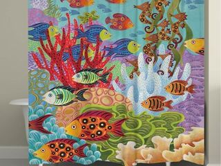 laural Home Colorful Fish Shower Curtain  Retail 97 99