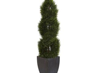 5  Double Pond Cypress Spiral Topiary Artificial Tree in Black Wash Planter UV Resistant  Indoor Outdoor  Retail 199 99