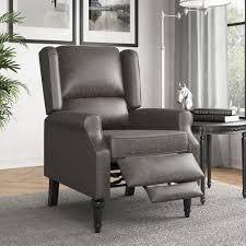 Copper Grove Cale Faux leather Wingback Push Back Recliner Chair  Retail 319 99 pu smoke