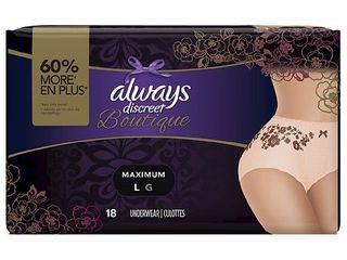Always Discreet Boutique, Incontinence Underwear for Women, Maximum Protection, Large, 18 Count, Buff Beige