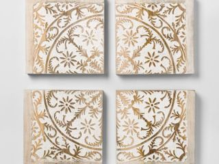 Carved Wood Panel 4pk Decorative Wall Art Set - Opalhouse