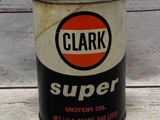 Vintage Clark Super 1 Quart Full Oil Can