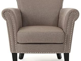 Brice Vintage Scroll Arm Studded Fabric Chair