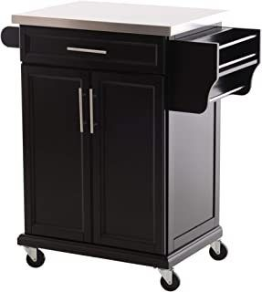 HomCom Wood Top Drop leaf Multi Storage Cabinet Rolling Kitchen Island Table Cart with Wheels   Black Retail 415 99