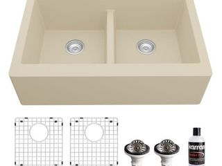 Karran Farmhouse Apron Front Quartz Double Sink