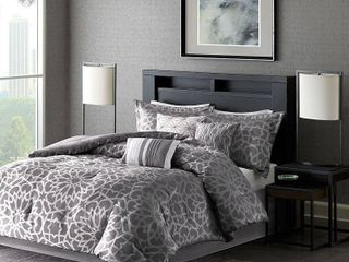 7 Piece luxury Comforter Set in Gray Geometric Floral Print   California King