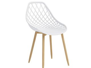 Set of 2 Kurv Dining Chair White Natural   Jamesdar